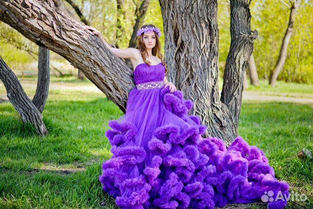 Фотосессия в платье облако на природе