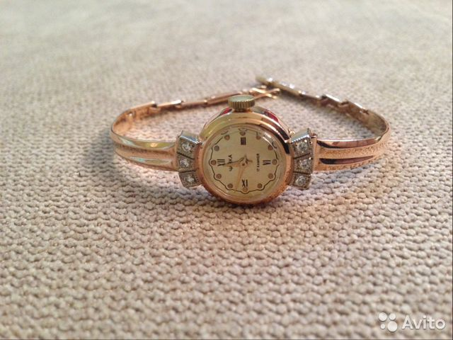 463a1348 Золотые часы Чайка с браслетом (585*, бриллианты) | Festima.Ru ...