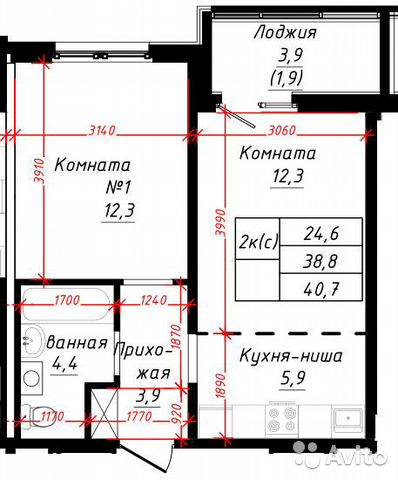 2-к квартира, 38.2 м², 8/10 эт.