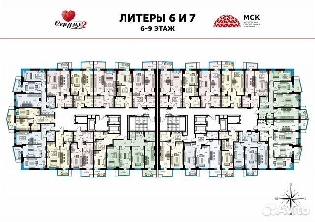 1-к квартира, 39.8 м², 23/25 эт. купить 6