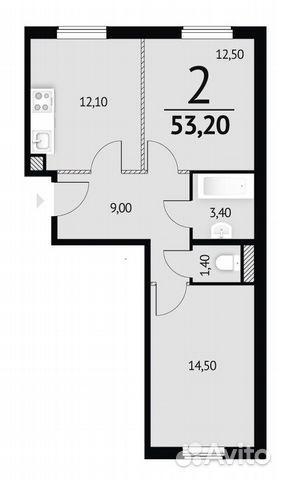 Своб. планировка, 53.2 м², 1/14 эт.  купить 2