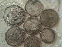 Набор из 7 серебренных древних монет с 1722 г по 1