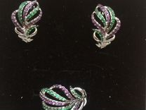 Серьги и кольцо серебро с фианитами