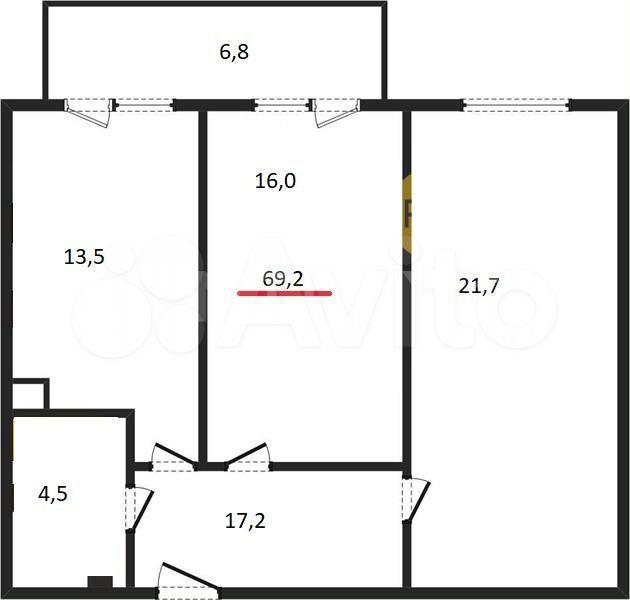 2-к квартира, 69.2 м², 2/4 эт.  89217122121 купить 2