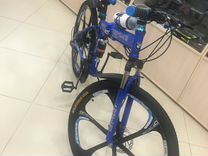 Велосипед на литых дисках складной синий