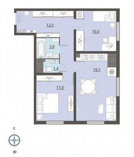 2-к квартира, 54.1 м², 13/25 эт. объявление продам