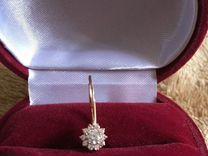 Сережка золотая 585 * с фианитом Valtera